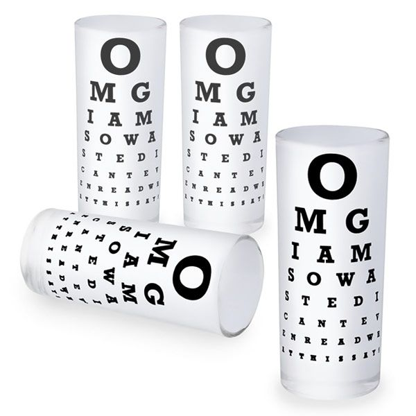 Eye Chart Shot Glasses