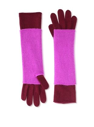 Portolano Women's Cashmere Armwarmer and Glove Set (Bordeaux/Very Berry)