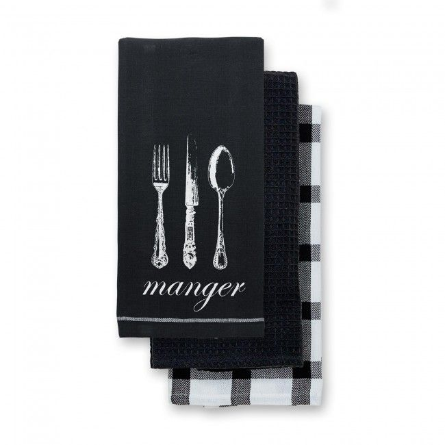 Warm up your kitchen with the Harman Manger Kitchen Towel Set.