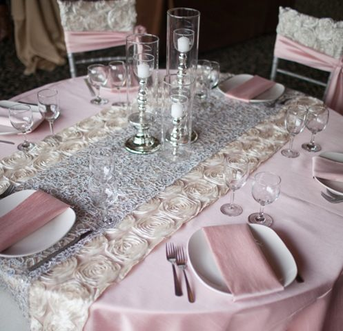 Blush, Ivory And Silver Table Decor. Recreate With Www.cvlinens.com Blush