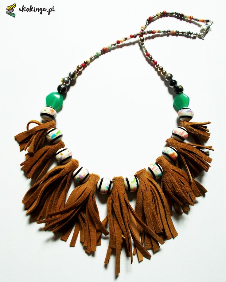 Necklace from piece of leather and beads.