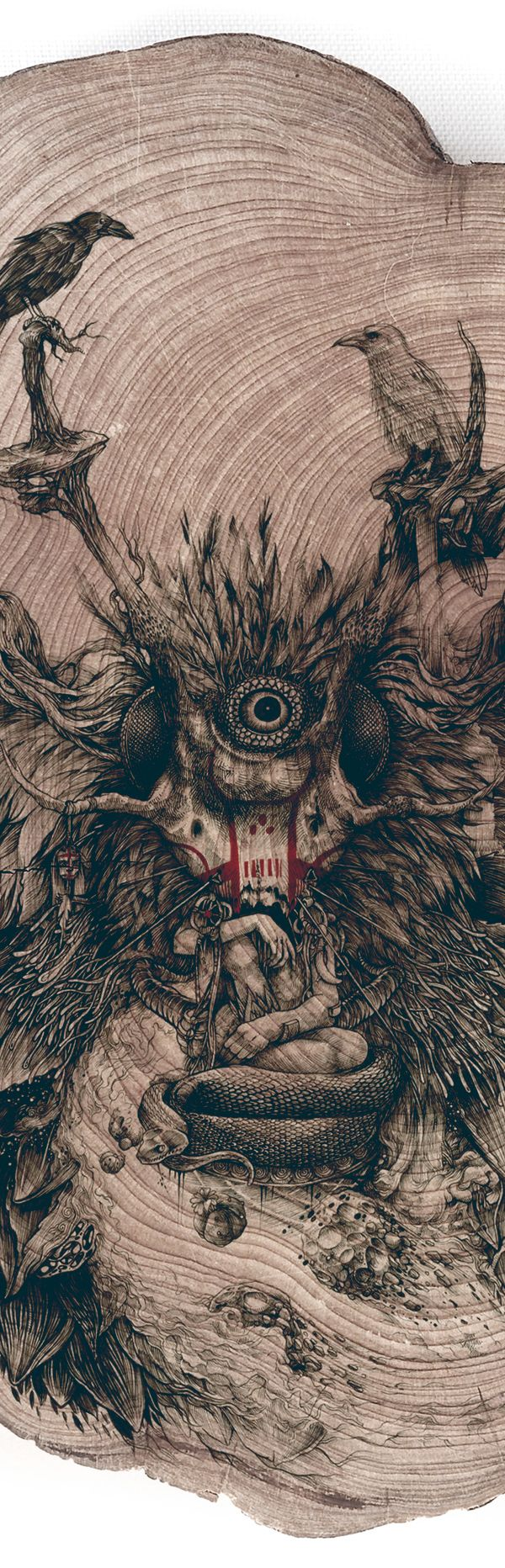 CHAMAN by DZO Olivier on Behance #wood #illustration #drawing