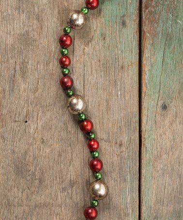 Loving this Red & Green Large Silver Bead Garland on #zulily! #zulilyfinds