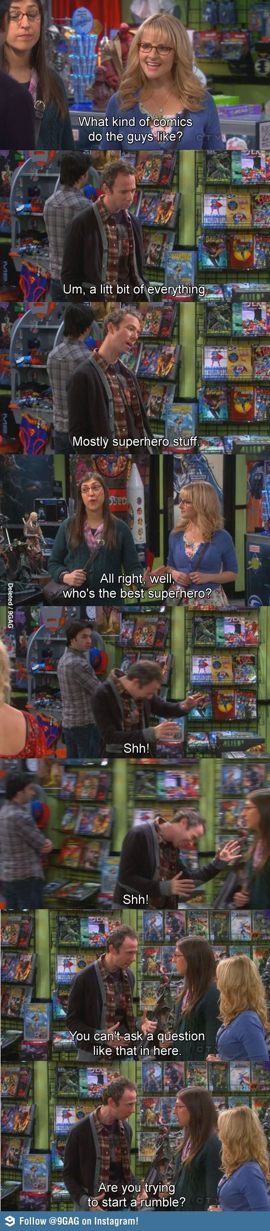 but really. don't ask a question like that in a comic store
