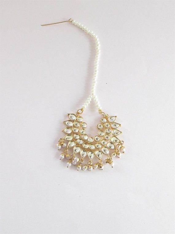 Jadau Gold Kundan Tikka/ Headpiece Pearl Beads by Beauteshoppe