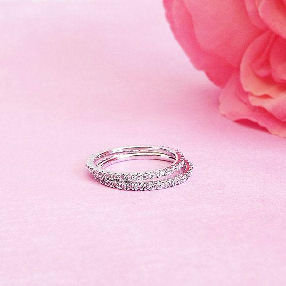 1 mm Pink Sapphire Pave Oro bianco anello completo di LasyaJewelry