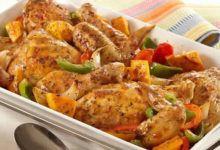 طريقة عمل الخضار المشكل مع الدجاج فى الفرن Garlic Chicken Recipes Vegetable Recipes Chicken