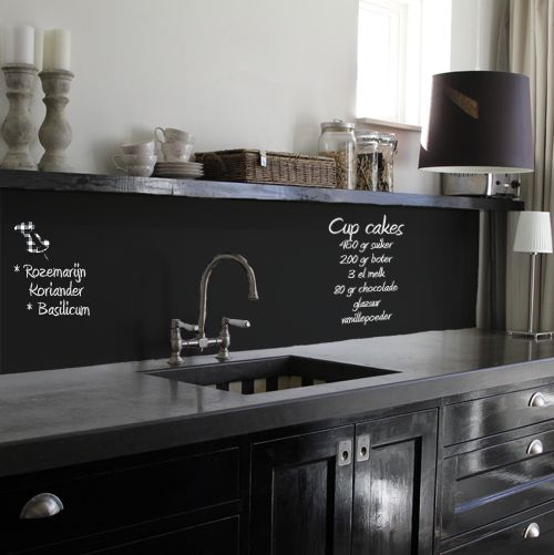 I don't know what language this is, but I think it's a chalkboard so you can write out recipes to follow on the kitchen...which is an awesome idea