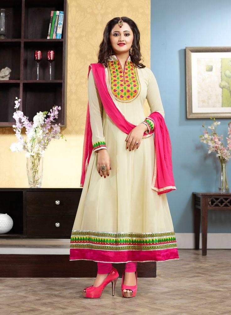 Beautiful Rashmi Desai in Cream & Pink Anarkali Suit