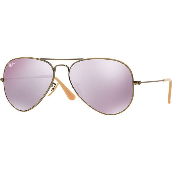 Ray-Ban Mirrored Aviator Sunglasses ($185) ❤ liked on Polyvore featuring accessories, eyewear, sunglasses, glasses, lilac, ray ban glasses, mirror aviators, mirrored aviators, mirror sunglasses and mirror lens aviators