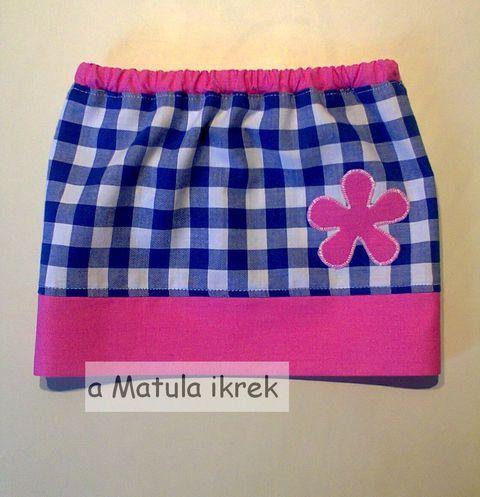 Apró, kockás szoknya, virággal, totyogóknak, Ruha, divat, cipő, Gyerekruha, Kisgyerek (1-4 év), Meska - checkered skirt with wide pink trim and floral applique