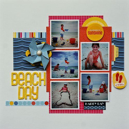 Beach Day - Scrapbook.com: Scrapbook Ideas, Scrapbook Layouts, Beaches Scrapbook Pages, Photo Layout, Beaches Scrapbook Layout, Crafts Projects, Papercraft Scrapbook, Scrapbook Summer Beaches, American Crafts