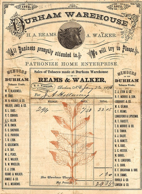 Durham Warehouse Ephemera    Ca. 1872-1873