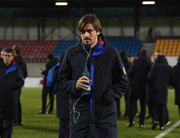 Alessio Romagnoli of Italy inspects the pitch ahead of tomorrow's FIFA 2018 World Cup Qualifier against  between Liechtenstein v Italy on November 11, 2016 in Vaduz, Liechtenstein.