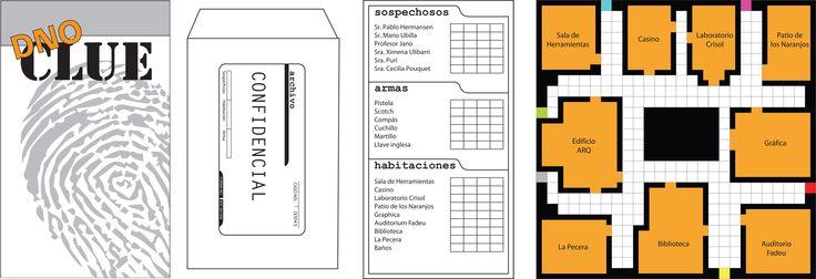 """Juego """"Clue"""" para explorar la novela detectivesca. Se puede utilizar integrando los personajes de una lectura o como actividad de exploración al tema.   Sugerencia: Hacer el tablero en tamaño gigante sobre papel blanco para pegarlo en la pizarra. Los personajes se pueden hacer en cartulina y ser pegados en el tablero."""
