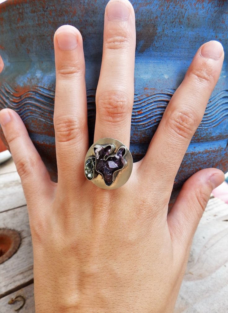 Ring made with glass paste, epoxy, purple and green color by Handmademyth on Etsy