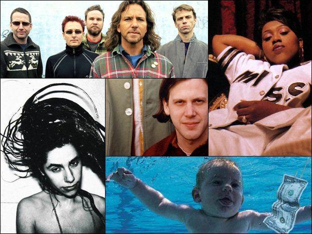 Pearl Jam (top left), Missy Elliott (top right), the cover of Nirvana's Nevermind (bottom right), PJ Harvey (bottom left), Jeff Mangum of Neutral Milk Hotel (center).