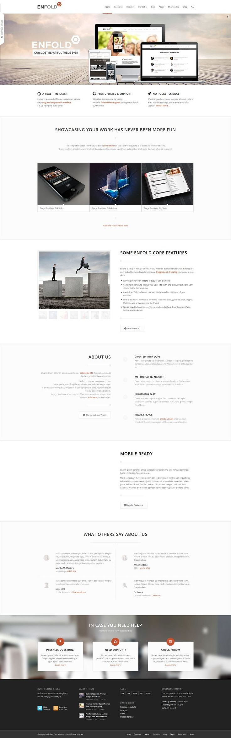 Enfold is a clean, super flexible and fully responsive WordPress Theme (try resizing your browser), suited for business websites, shop websi...