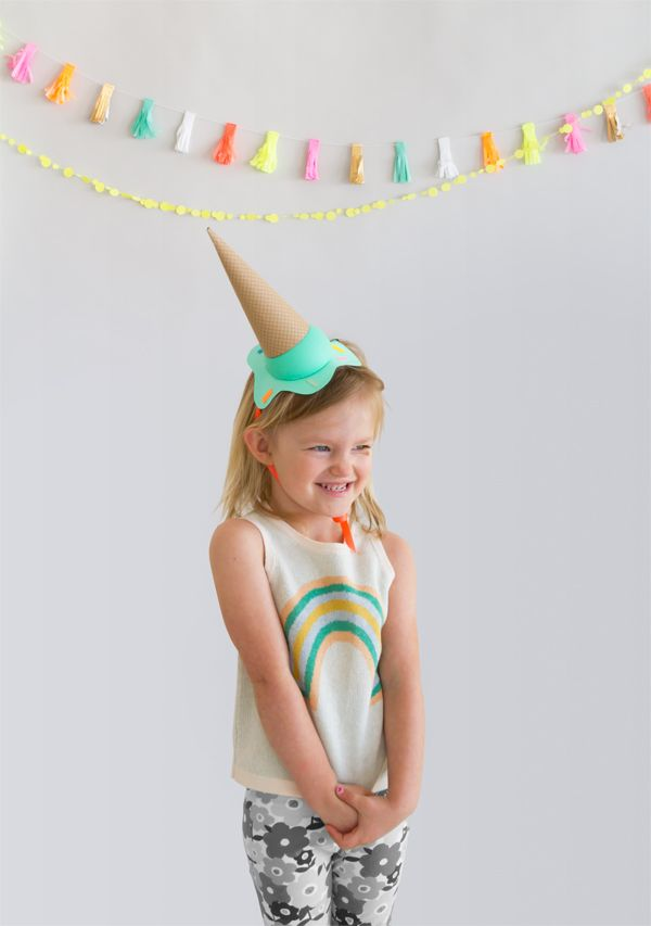 DIY Melting Ice Cream Party Hats from Oh Happy Day!                                                                                                                                                                                 More
