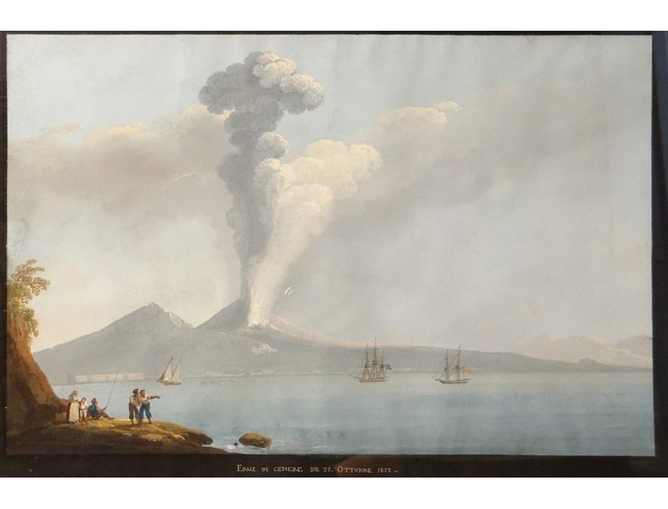 "Neapolitan gouache representing the Italian volcano Mount Vesuvius erupted in 1822, with the foreground boats in the Bay of Naples and amazed attending the eruption characters, entitled ""Eruz di Cenere"" (ash eruption ) dated October 22, 1822, the 19th C."