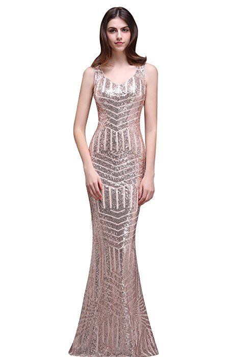 d50bc0504061 Amazon.com  MisShow Geometric Sequins Sleeveless Bodycon Evening Gowns Rose  Gold US4  Clothing