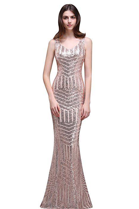 acef01c9 Amazon.com: MisShow Womens Slim Geometric Sequins Mesh Splice Party Dress  Formal Rose Gold US8: Clothing