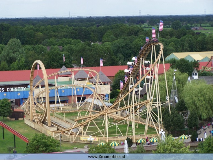 The Looping Star in Slagharen in the Netherlands. Is a speedy coaster with a lot of curves.