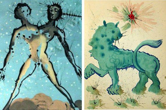 Set of x13 Salvador Dali Zodiac prints