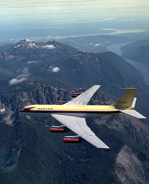Boeing 367-80 N70700 during a test flight over the Olympic Peninsula near Seattle, circa 1954. Popularly known as the Dash 80, this aircraft was the prototype for the Boeing 707. (Photo: Boeing)