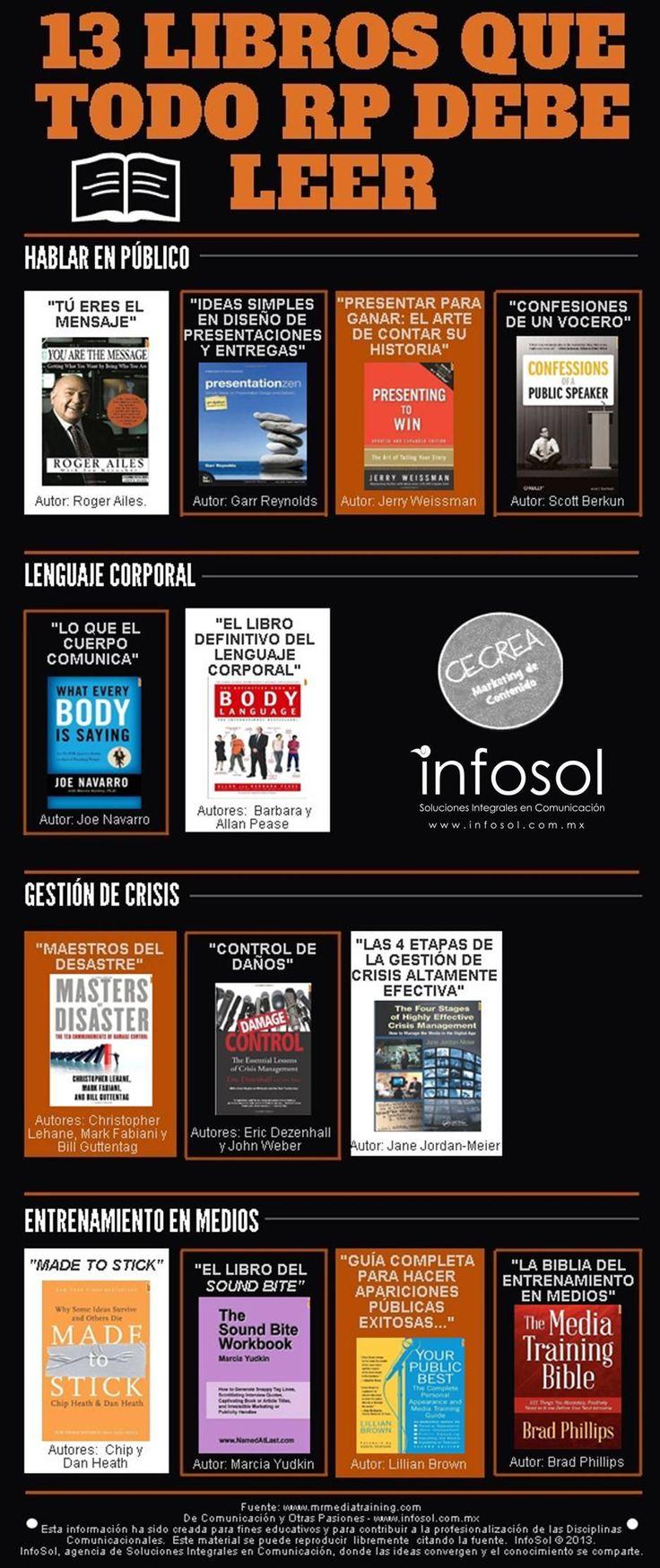13 libros que todo relaciones públicas debe leer #infografia #infographic #marketing