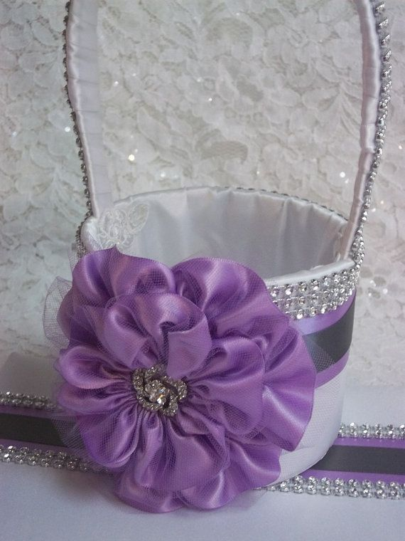 Flower Girl Basket in white with Lilac Purple by AllAHeartDesires, $75.00