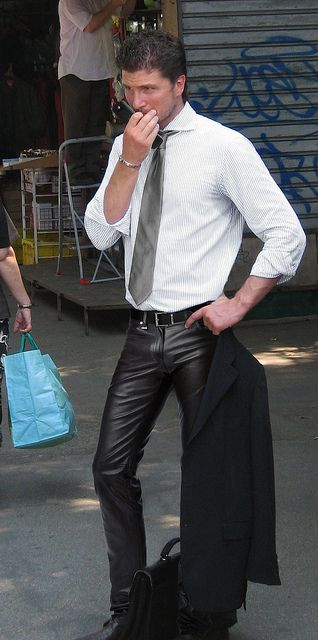 Hot Business Man in Leather Pants Tight leather pants