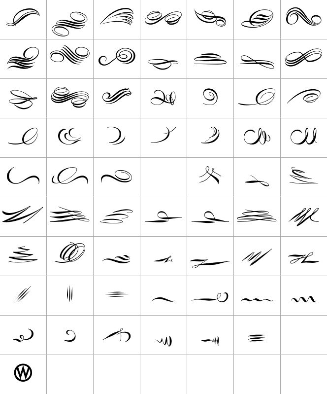 Pretty calligraphy swashes