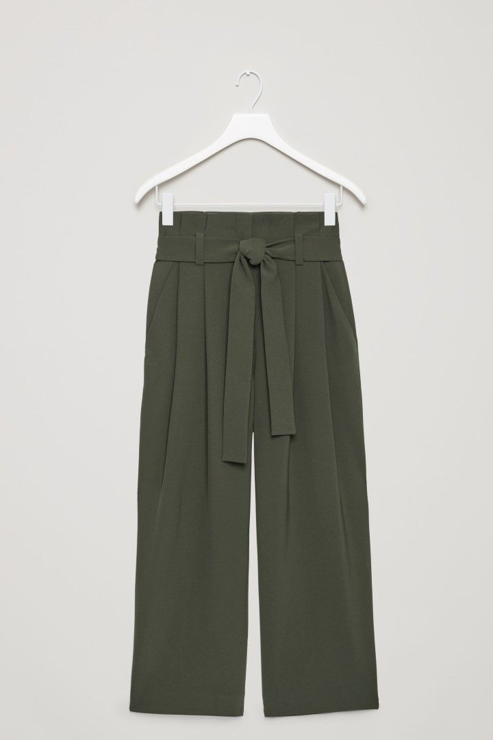 COS image 2 of Cropped trousers with pleats  in Chartreuse