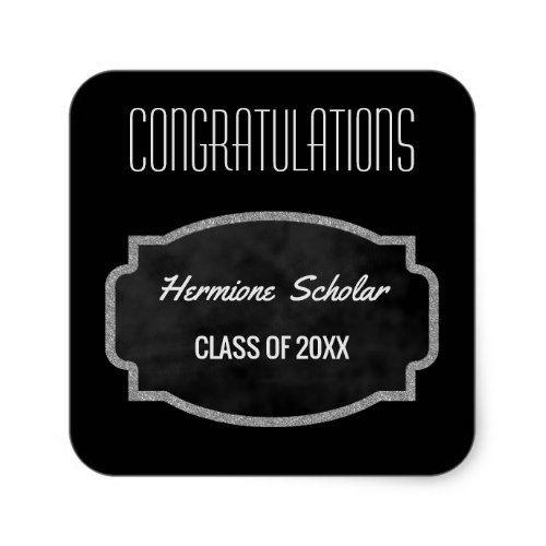 Black Chalkboard Graduation Party Favor | Class of Square Sticker