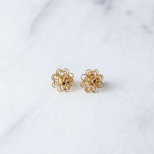 "Filirose ""Sandra Gold Earrings"" - Minimalistic, elegant fine jewelry with Portuguese filigree"