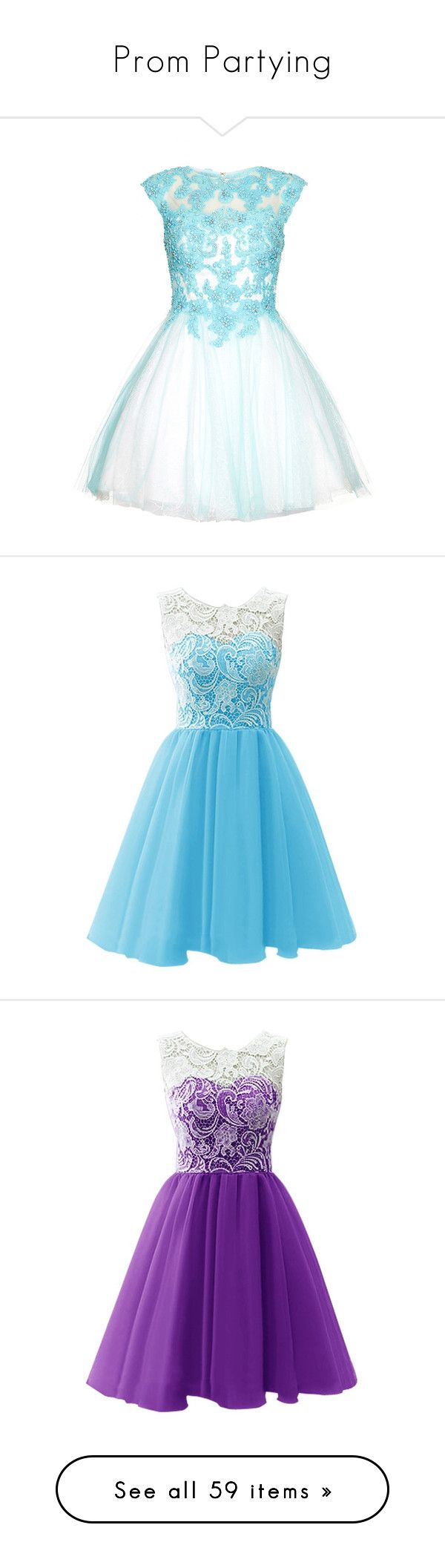 """""""Prom Partying"""" by cammms ❤ liked on Polyvore featuring dresses, vestidos, short dresses, lace cocktail dress, short prom dresses, beaded cocktail dress, aqua blue dress, lace dress, blue and long dresses"""