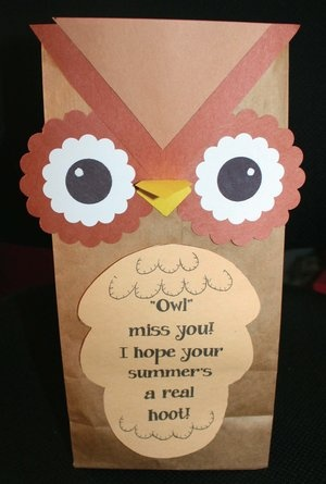 Paper bag owl treat bags. Quick & easy to make to hold goodies to give to your students at the end of the year. Can also be a puppet. FREE patterns.