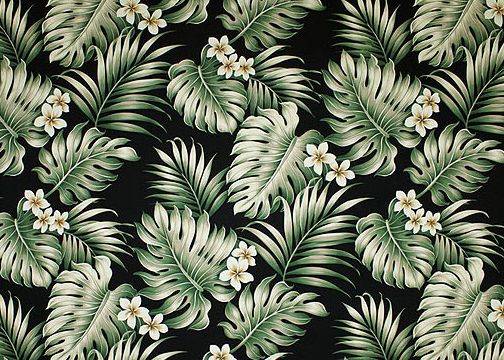 Vintage Style Hawaiian Fabrics Cotton Poplin, 44/45 inch Wide, All-Over. Monstera and palm fronds with plumeria flowers