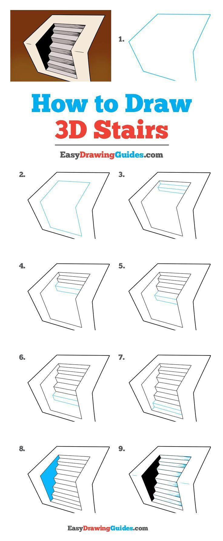 3d Stairs Drawing Tutorial In 2020 3d Art Drawing Drawing