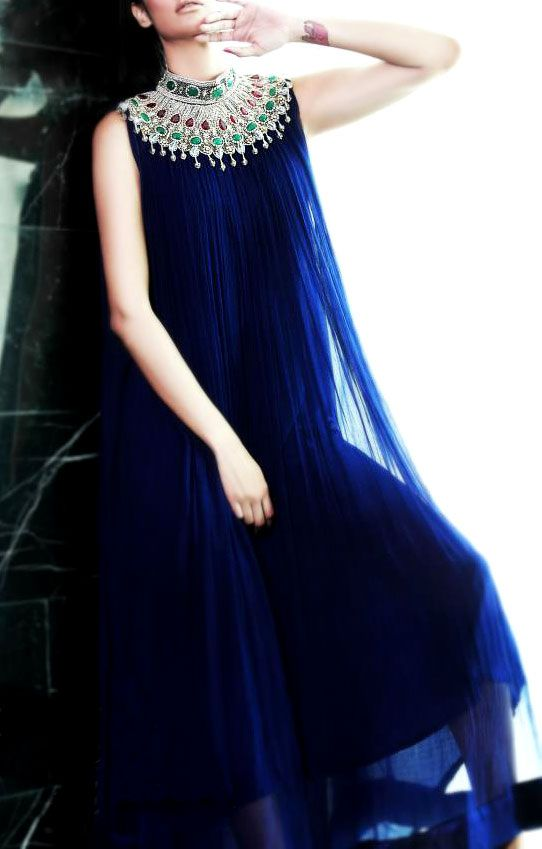 Buy Navy Blue Embroidered A-line Crinkle Chiffon Party Special Dress by…