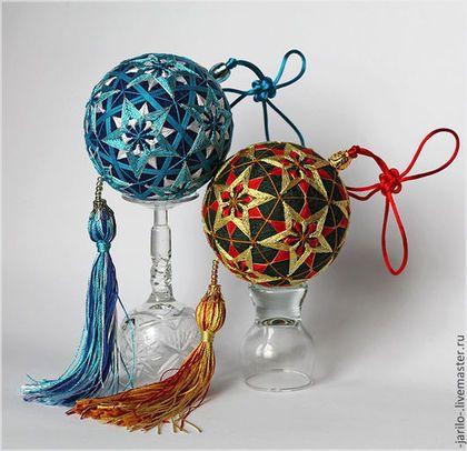 Японские вышитые шары. Яркие звезды.Ручная работа. Каждый шарик с узелком счастья.