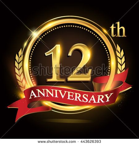 12th golden anniversary logo, 12 years anniversary celebration with ring and red ribbon, Golden anniversary laurel wreath design. - stock vector