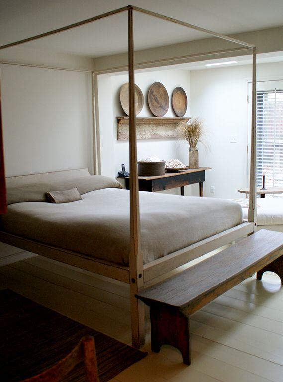 Modern country bedroom by Gloria Oviatt. LOVE this bed, the rest is too staged and too neutral.