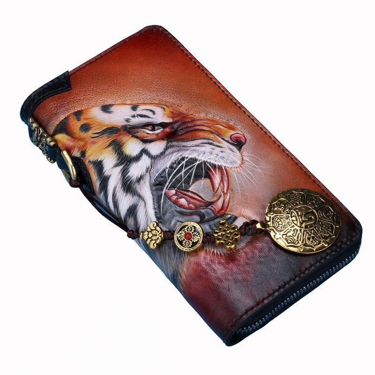 Overview: Design: Handmade Leather Tooled Tiger Mens Chain Biker Wallet Cool Leather Wallet Long Clutch Wallets for MenIn Stock:  Ready to Ship (2-4 days)Includ