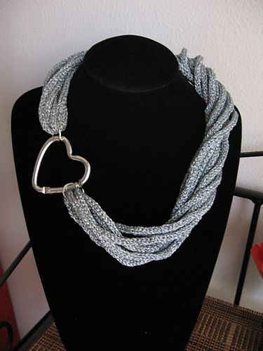 Spool knitted torchon necklace by Di Lana Cotta