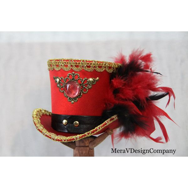 Red Mini Top Hat, Steampunk Ringmaster Hat, Brass Filigree Glass... (1 970 UAH) ❤ liked on Polyvore featuring accessories, hats, glass hat, brass hat, steampunk hat, top hat und red brim hat