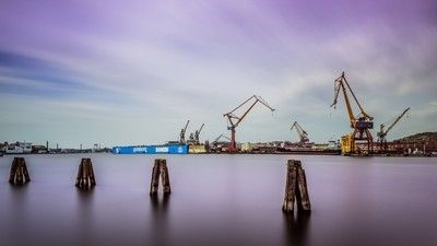 Industrial harbor wallpaper