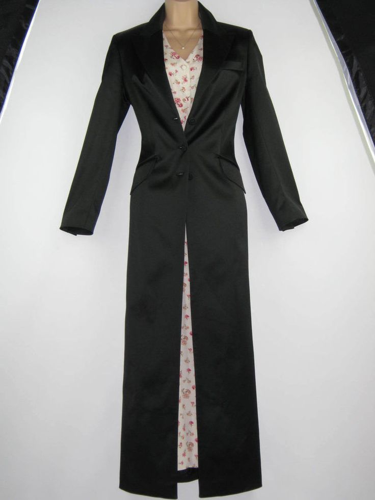 LAURA ASHLEY BLACK SATIN FULL-LENGTH FITTED EVENING DRESS COAT, BNWT, UK 10
