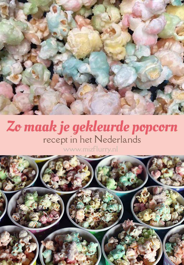 Popcorn recept voor zoete popcorn met een kleurtje. Recept in het Nederlands.